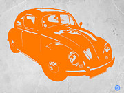 Old Car Art Prints - VW Beetle Orange Print by Irina  March