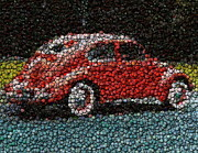 Bottle Cap Mixed Media Framed Prints - VW Bug Bottle Cap mosaic Framed Print by Paul Van Scott
