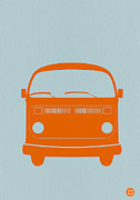Classic Car Digital Art Posters - VW Bus Orange Poster by Irina  March