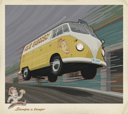 Flying Digital Art Prints - Vw Van High Speed Delivery Print by Mitch Frey