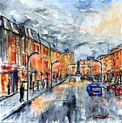 Rainy Street Painting Framed Prints - W 39 Rainy Moscow  Framed Print by Dogan Soysal