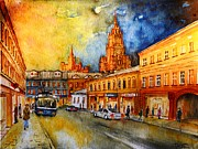 Rainy Street Painting Originals - W 47 Moscow by Dogan Soysal