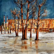 Snowy Trees Paintings - W 51 Moscow by Dogan Soysal