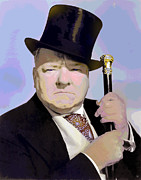 Black Top Mixed Media Acrylic Prints - W C Fields Acrylic Print by Charles Shoup
