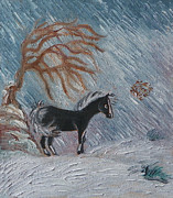 Wyoming Paintings - W is for Wickery in the Winter Wind - detail from Childhood Quilt painting by Dawn Senior-Trask
