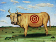 Bulls Posters - W T F Poster by Leah Saulnier The Painting Maniac