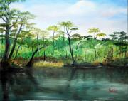 Waccamaw River Prints - Waccamaw River - Impressionist Print by Phil Burton