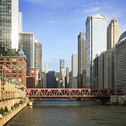 Chicago Photography Posters - Wacker Drive, Marina Towers, Chicago River Poster by Hisham Ibrahim