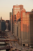 Illinois Art - Wacker Drive Sunset Chicago by Steve Gadomski