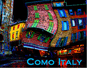 Photo Manipulation Mixed Media Posters - Wacky Como Italy Poster by Ginny Luttrell