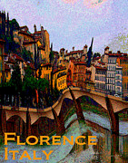 Photo Manipulation Mixed Media Posters - Wacky Florence Italy Poster by Ginny Luttrell