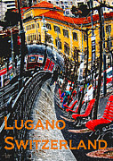 Photo Manipulation Mixed Media Posters - Wacky Lugano Switzerland Poster by Ginny Luttrell