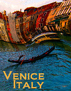 Photo Manipulation Mixed Media Framed Prints - Wacky Venice Italy Framed Print by Ginny Luttrell