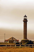 Gloomy Prints - Wacky Weather at Point Arena Lighthouse - California Print by Christine Till