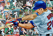 Baseball Mixed Media Originals - Wade Boggs by Michael Lee