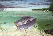Kevin Brant Art - Wade Fishing For Speckled Trout by Kevin Brant