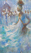 Gullah Paintings - Wade in the Water by Gertrude Palmer