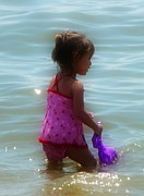 Water Play Posters - Wading Child Poster by Lori Seaman