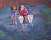 Lilly Pond Paintings - Wading for Minnows by Roberta Ress