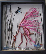 Raffia Sculptures - Wading Roseate Spoonbill by Beth Lane Williams