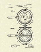 Patent Artwork Drawings Metal Prints - Waffle Iron 1883 Patent Art Metal Print by Prior Art Design