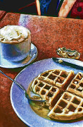 Digital Photograph Digital Art Acrylic Prints - Waffles and Coffee Acrylic Print by Scott Norris