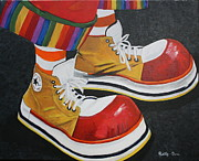 Laces Painting Posters - Waffles shoes Poster by Betty-Anne McDonald