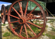 Old Wagon Photos - Wagon and Wheel by David Lee Thompson