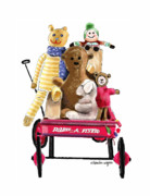 Toy Animals Posters - Wagon Full Of Toys Poster by Arline Wagner