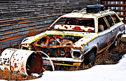 Alberta Prints Prints - Wagon Of Rust Print by Jerry Cordeiro