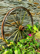 Wheel Framed Prints Posters - Wagon Wheel And Stone Wall Poster by Steven Ainsworth