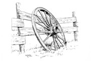 Wagon Drawings Framed Prints - Wagon Wheel Framed Print by Bob Hallmark