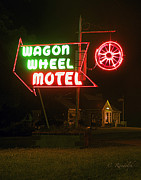 Old Cabins Prints - Wagon Wheel Motel Print by Cheri Randolph