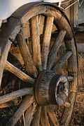 Conestoga Photo Metal Prints - Wagon Wheel On Covered Wagon At Bar 10 Metal Print by Todd Gipstein