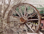 Wagon Photo Framed Prints - Wagon Wheel Framed Print by Robert Frederick