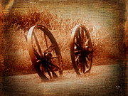 Corn Wagon Framed Prints - Wagon Wheels Framed Print by Ms Judi