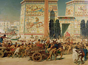 Slavery Painting Metal Prints - Wagons detail from Israel in Egypt Metal Print by Sir Edward John Poynter