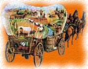 Horse Drawing Digital Art Posters - Wagons Ho Poster by Garry Staranchuk