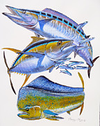 Dolphin Painting Originals - Wahoo Tuna Dolphin by Carey Chen