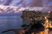 Long Street Framed Prints - Waikiki at Night Framed Print by Tomas del Amo