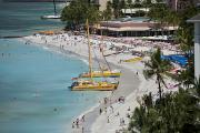Waikiki Beach And Catamarans Print by Peter French