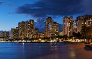 Busy City Photos - Waikiki Beach at Nightfall by Bill Bachmann - Printscapes