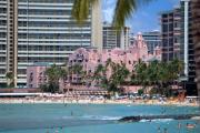 Hawaiian Photos - Waikiki Beach with the Royal Hawaiian Hotel by George Oze