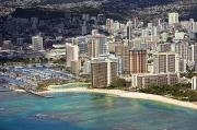 Ron Ron Framed Prints - Waikiki from Above Framed Print by Ron Dahlquist - Printscapes