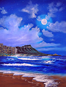 Sea Moon Full Moon Painting Originals - Waikiki Full moon by Jerry Guerrero
