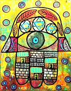 Hamas Paintings - Wailing Wall Hamsa by Sandra Silberzweig