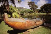 Koa Framed Prints - Wailua, Wooden Canoe Framed Print by Rita Ariyoshi - Printscapes