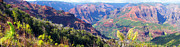 Kevin W. Smith Framed Prints - Waimea Canyon Panorama Kauai Framed Print by Kevin Smith