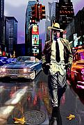 Raining Mixed Media Posters - Waine walking in Times Square Poster by Jose Roldan Rendon