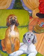 Sight Hound Painting Posters - Wait I think I hear Santa Poster by Terry  Chacon